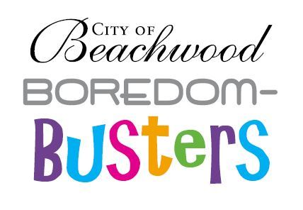 "Logo that says City of Beachwood Boredom-Busters, where ""Boredom"" is gray and boring and ""B"