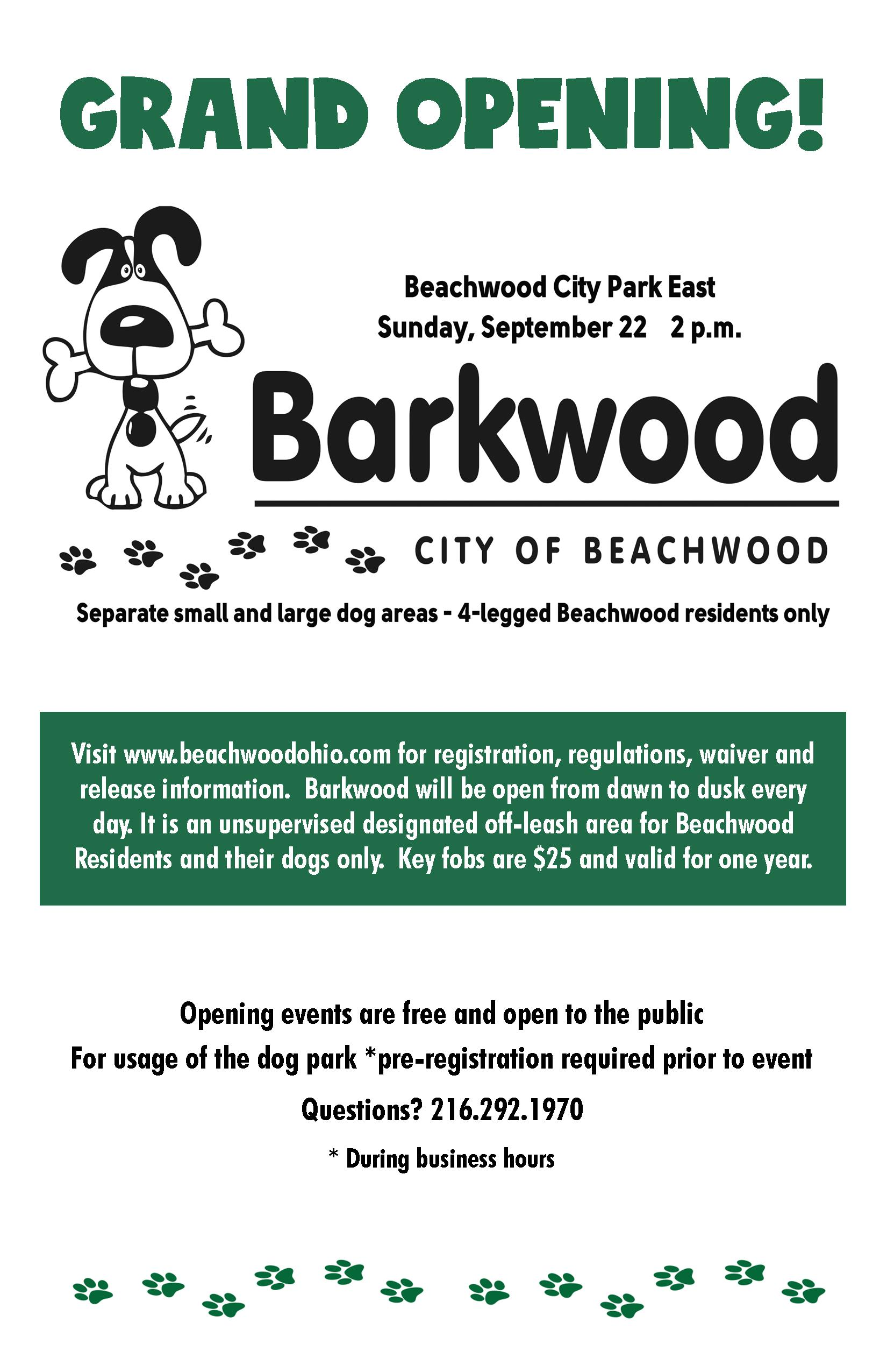 The Barkwood Grand Opening is Sunday, Sept. 22 at 2:00 PM, rain or shine