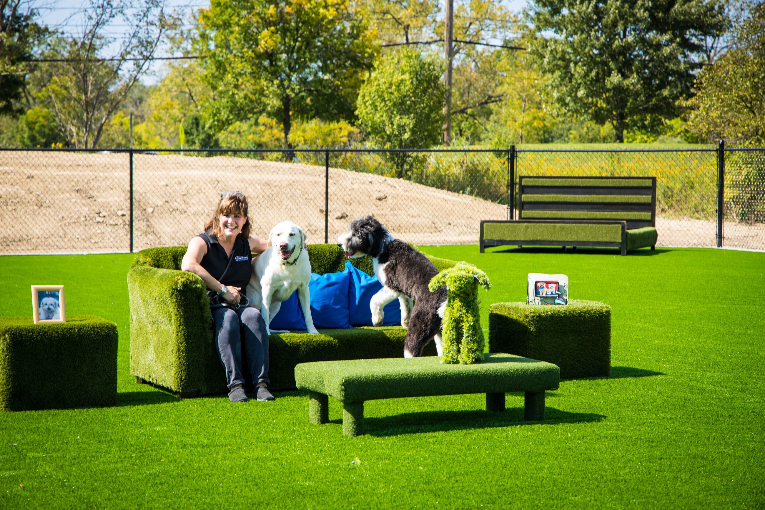 Barkwood patron and two dogs enjoy the turf-covered sofa