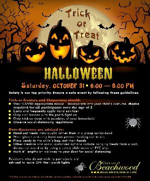 Halloween flyer: Trick-or-Treating will take place in Beachwood on Saturday, October 31, 6-8 PM