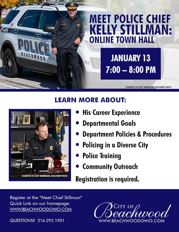 Meet Police Chief Kelly Stillman: Online Town Hall. January 13, 2021 from 7:00 PM - 8:00 PM.