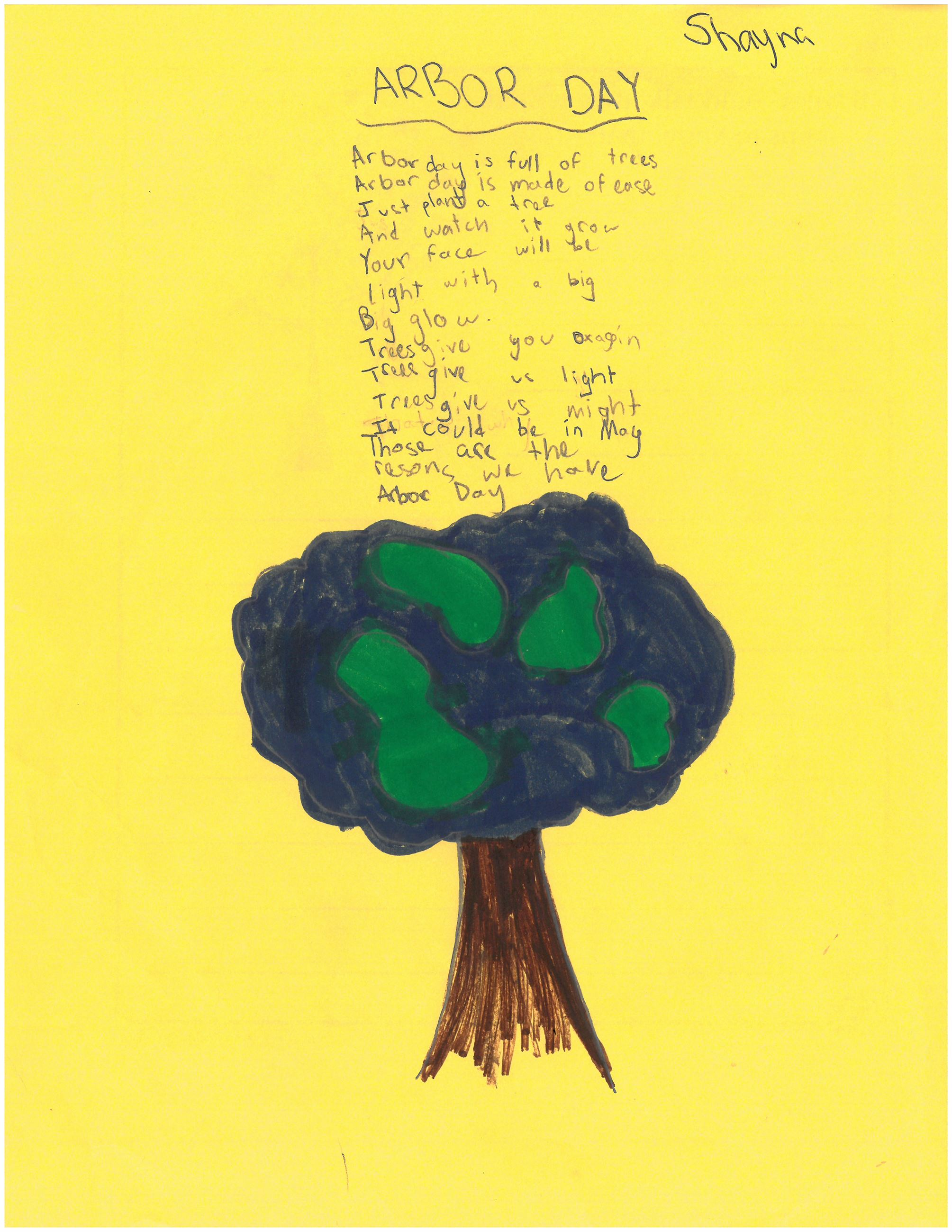 Picture of of tree and a poem about Arbor Day designed by a Hilltop student.